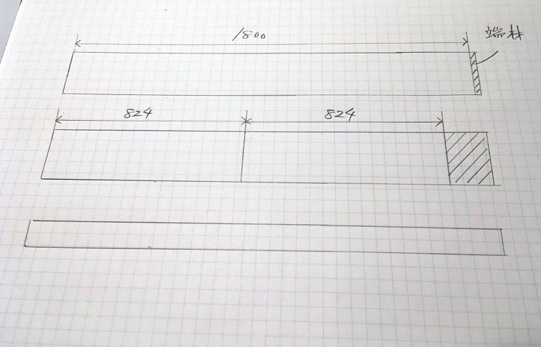ホームセンターのカット加工に出す図面の書き方3