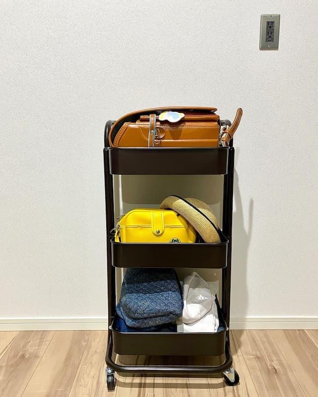 IKEAのワゴンでランドセル収納